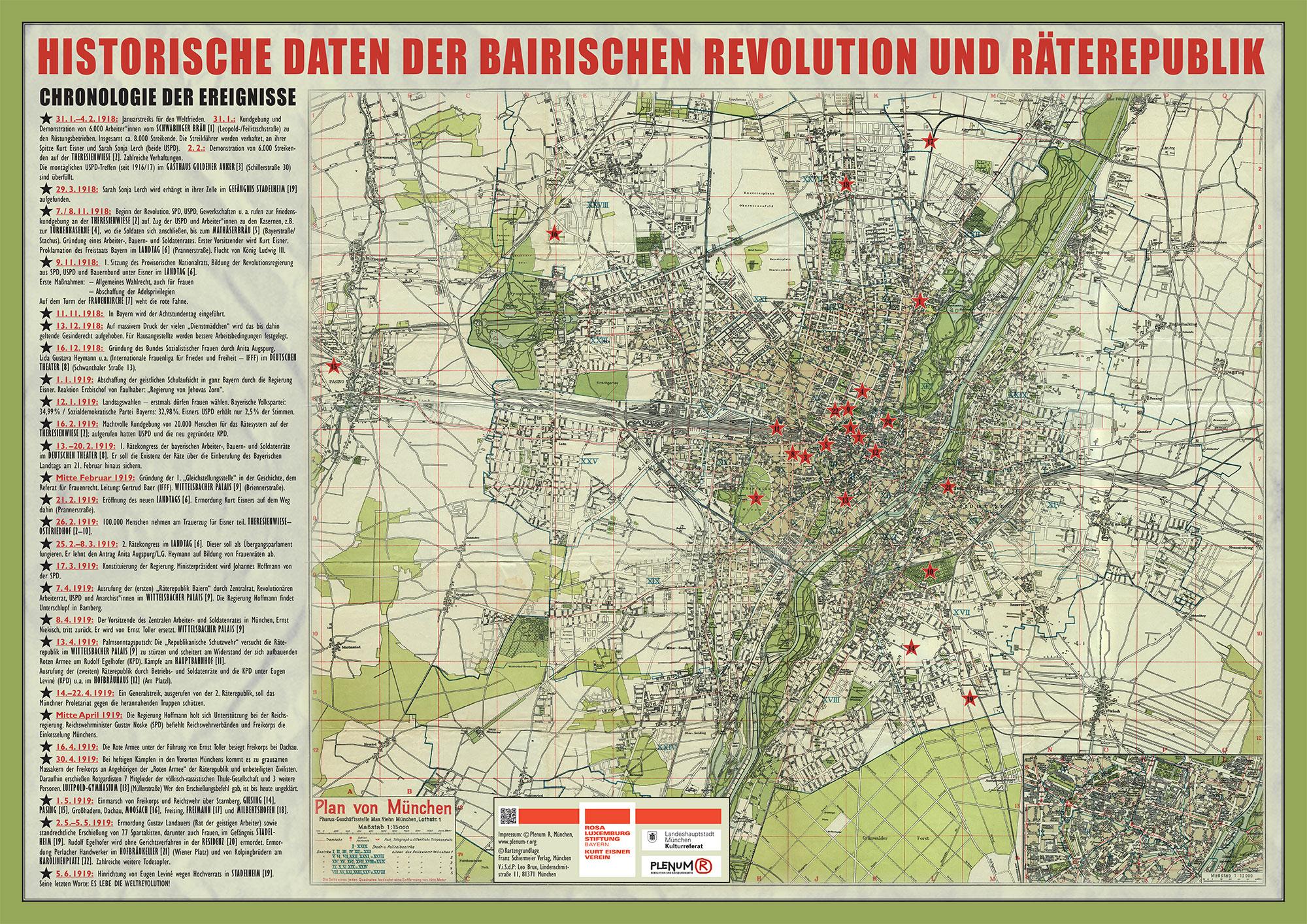 Karte mit den wichtigsten Daten, kostenlos beim Kurt Eisner-Verein / Rosa Luxemburg Stiftung oder bei manchen unseren Veranstaltungen zu bekommen